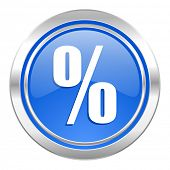 percent icon, blue button