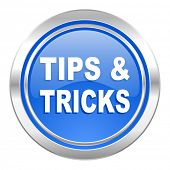 tips tricks icon, blue button