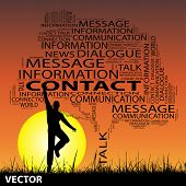 Vector concept or conceptual black contact technology tree and grass word cloud, a man jumping on sunset with sun background