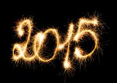 Happy New Year 2015 made with Sparklers