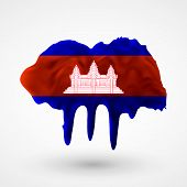 Flag of Cambodia painted colors