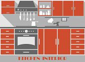 Modern kitchen interior in flat style