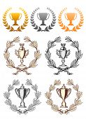 stock photo of trophy  - Championship cup trophies with laurel wreath - JPG