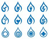 Blue Vector Water Drop Symbol Icon Set