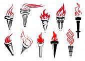 Vintage flaming torches set