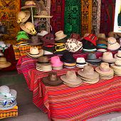 Hats at Souvenir and Handicraft Shop in Copacabana, Bolivia