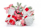Christmas colorful decor, gift box and snow fir tree. Isolated on white background with copy space