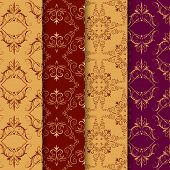 Set Of Vintage Seamless With Arabic Pattern