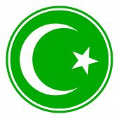 stock photo of crescent-shaped  - Star and crescent button on white background - JPG
