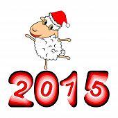 stock photo of animated cartoon  - A funny Christmas cartoon sheep - JPG