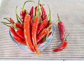 Close Up Chili Peppers In Glass Cup On Napkin Background