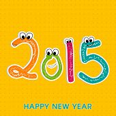 Kiddish greeting card with colorful text 2015 on stylish yellow background for Happy New Year celebrations.