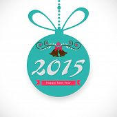 Beautiful hanging X-mas ball decorated with jingle ball for Happy New Year celebrations on shiny white background.