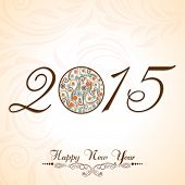 Stylish text of Happy New Year 2015 with beautiful X-mas ball on floral decorated background.