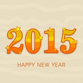 Beautiful poster of Happy New year 2015 with star decorated colorful text on stylish background.