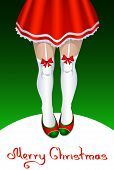 Female Santa Claus With Slender Legs In Stockings