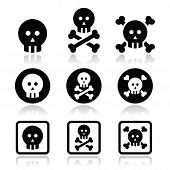 Death, skull with bones vector icons set