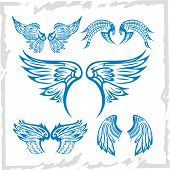 Vector Wings Set. Vinyl-ready illustration.