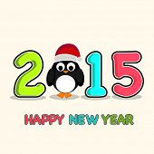 Celebration of Happy New Year 2015 with colorful text and cute penguin in Santa cap.