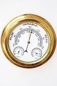 Brass Barometer, Thermometer, Hygrometer With White Face