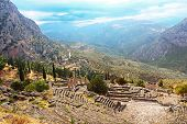 Part Of Ancient Theater And Ruins After The Rain In Delphi, Greece
