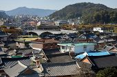 aerial view of the Jeonju, a traditional Korean village.