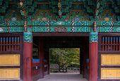 Gateway entrance into a temple, Korean architecture