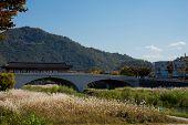 The traditional Korean bridge that spanned over the river in Jeonju Hanok Village.
