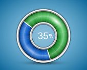 Pie chart, round progress bar on blue background with blue-green indicator. Infographic elements. Vector illustration