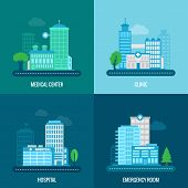 foto of building exterior  - Medical building flat icons set with center clinic hospital emergency room isolated vector illustration - JPG