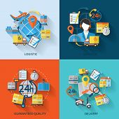 foto of logistics  - Logistic icons flat set with services guaranteed quality delivery isolated vector illustration - JPG