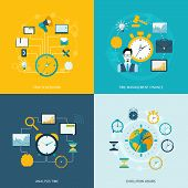stock photo of tasks  - Time management flat icons set with task scheduling time management finance analysis evolution hours isolated vector illustration - JPG