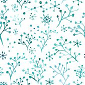 Christmas pattern with snow and trees