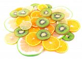 Sliced citrus isolated on white close up