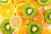 Sliced citrus close-up background