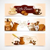 stock photo of frappe  - Coffee colored horizontal banners set with latte frappe espresso cappuccino isolated vector illustration - JPG