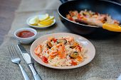 Spanish Dish Paella With Seafood, Shrimps In Pan