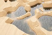 Abstract wooden landscape with water in pools (3D Rendering)