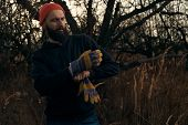 bearded lumberjack putting on gloves