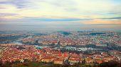 viewpoint panorama of Prague over Charles Bridge
