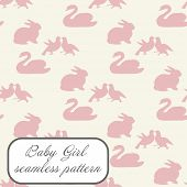 Baby girl seamless pattern in pink colors with swan, bunny and doves