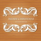 Retro christmas background with vintage frame on wood wall background. Vector greeting card design or xmas banner design.