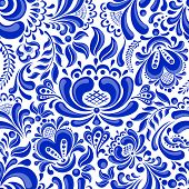 Beautiful seamless pattern in Russian style gzhel.