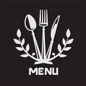 menu design with knife, fork and spoon on black background