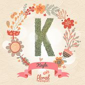 Vintage floral monogram made of green leafs and bright flowers in vector. Stylish letter K can be used for posters, cards, invitations, blogs, websites, backgrounds and any other stylish designs