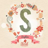 Vintage floral monogram made of green leafs and bright flowers in vector. Stylish letter S can be used for posters, cards, invitations, blogs, websites, backgrounds and any other stylish designs