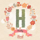 Vintage floral monogram made of green leafs and bright flowers in vector. Stylish letter H can be used for posters, cards, invitations, blogs, websites, backgrounds and any other stylish designs