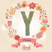 Vintage floral monogram made of green leafs and bright flowers in vector. Stylish letter Y can be used for posters, cards, invitations, blogs, websites, backgrounds and any other stylish designs