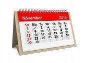 Monthly Calendar For Year 2015. November