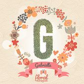 Vintage floral monogram made of green leafs and bright flowers in vector. Stylish letter G can be used for posters, cards, invitations, blogs, websites, backgrounds and any other stylish designs